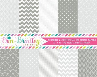 80% OFF SALE Digital Scrapbook Papers Personal and Commercial Use Silver and Pewter Medley
