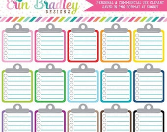 80% OFF SALE Lined Clipboard Clipart Graphics Personal & Commercial Use Note Paper To Do List Clip Art