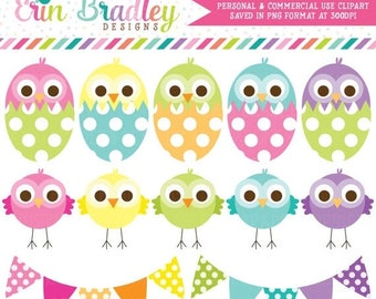 80% OFF SALE Easter Clipart Chickadees Eggs and Bunting Commercial Use Clip Art Graphics