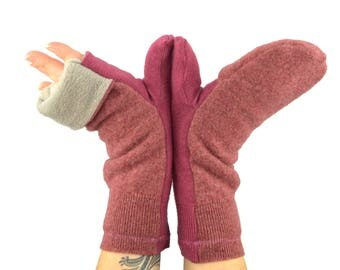 Convertible Flip Top Mittens in Pink Raspberry - Recycled Wool - Fleece Lined