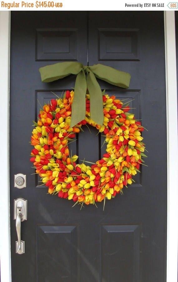 SUMMER WREATH SALE Spring Decor- Tulip Spring Wreath, Wreath for Door Spring, Custom Colors and Ribbon, 24 inch Spring Wreath, Door Wreath