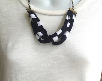 Navy and White Fabric Necklace, Fabric Statement Necklace, Bib Necklace, Tshirt Yarn, Upcycled Jewelry, Repurposed Jewelry