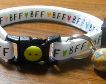 BFF Cat Collar, Kitten Collar, Breakaway Collar - girl cat, boy cat, Best Furry Friend