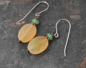Chrysoprase and Carneilan earrings
