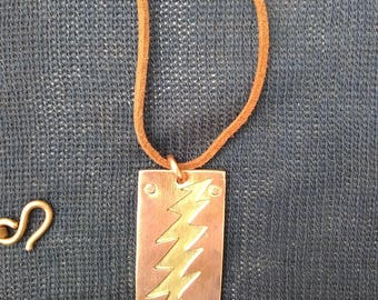Grateful Dead 13 point lightning bolt copper and brass riveted pendant necklace