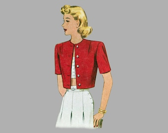 1940 Cropped Jacket pattern McCall 6458 3 styles Bust 32 Bolero style Lined jackets waist length jackets Shawl collar or jewel neck Complete