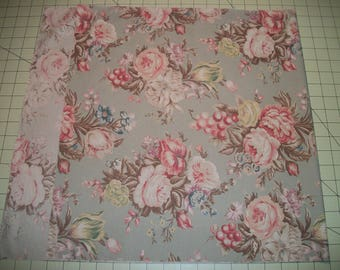 """Floral remnant, Cotton Fabric, light mint background, 37"""" x 17"""". Reclaimed fabric."""