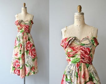 Les Arts Florissants dress | vintage 1950s dress | silk floral 50s dress