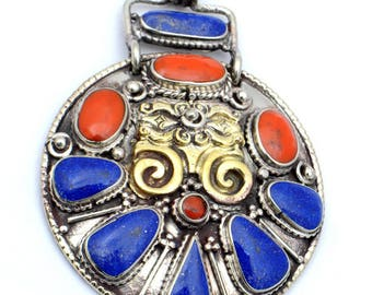 Lapis Lazuli and Red Coral - Nepalese Sterling Silver and Bronze Medallion