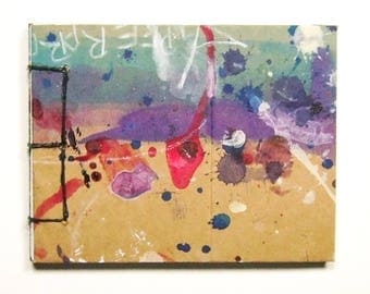 Artist's Mini Sketchbook, Aqua, Purple and Red, Stab Bound with Up Cycled Materials and Hand Painted Cover