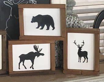 Forest decor | Forest animals | Hunting decor | Cabin decor | Lodge decor | Rustic decor | Rustic sign | Wood sign | Wooden sign | Signs 9x7