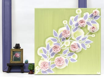 Small Canvas Art Sculpted Rose Painting, Gift for Girl Name Art, Green, Pink Green and Purple - 10x10