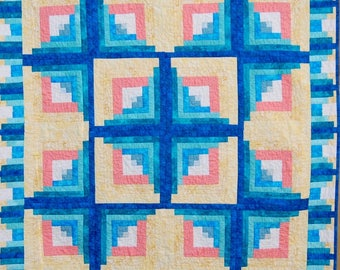 Handmade Baby Log Cabin Quilt, Bright and colorful handmade baby boy quilt, Handmade beautiful baby quilt