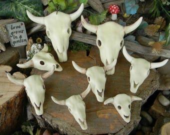 Cow Skull  with horns Dead Head  Ceramic Cow Skull Miniature Steer bulls catcus, succulent or container garden statue