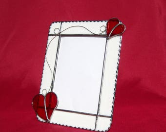 Love Me Tender Glass Frame 5 x 7 Stained Glass Frame Valentine Picture Frame Valentine Heart Frame Red Heart Frame Glass Portrait Frame