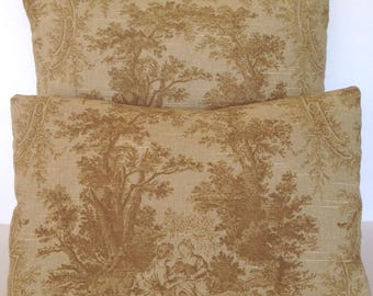 Decorative Throw Pillow Toile Brown Tan Autumn Decorative Accent French Country Scene English Cottage Victorian Shabby Chic Garden Trees