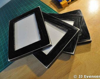 Set of 4 Black Distressed 11x14 Picture Frames with Acrylic Glass Backing and Mounting Hardware