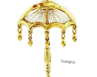 Monet Umbrella Brooch Gold tone beaded drop
