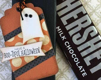 KIT Halloween Ghost Candy Bar Wrappers and Ghostly Tag, Hershey Candy Bar-Party favor-Teacher Appreciation, Game Prize-Classroom Co-Workers