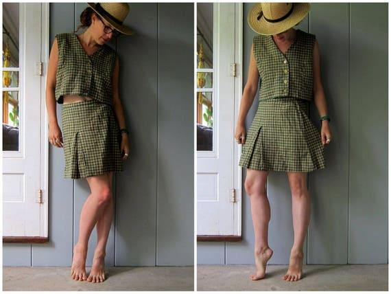 60s Skirt & Top Set Vintage MATCHING SET Boxy Crop Top Checkered Mini Skirt High Waist Preppy School Girl Mod Vintage 26 Skirt / Top Large