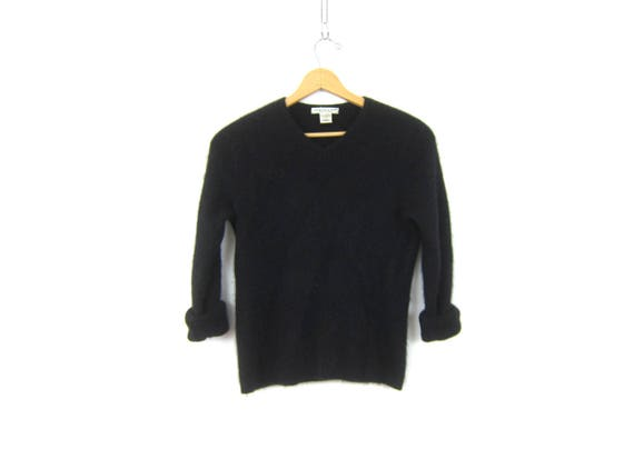 vintage cashmere sweater black Vneck pullover sweater Soft Fuzzy Minimalist modern sweater Marconi Sweater Women's Size Large
