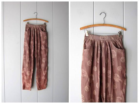 80s Lounge Pants COIN PRINT High Elastic Waist Tapered Leg Pleated Dusty Pink Pants Harem Dancer Hip Hop Pants Womens 12 Medium Large