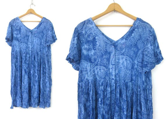 Blue Paisley Button Down Dress Long 90s resort vacation Dress Oversized Button Front Crinkle Sundress Boho Chic Women's Plus Size 20