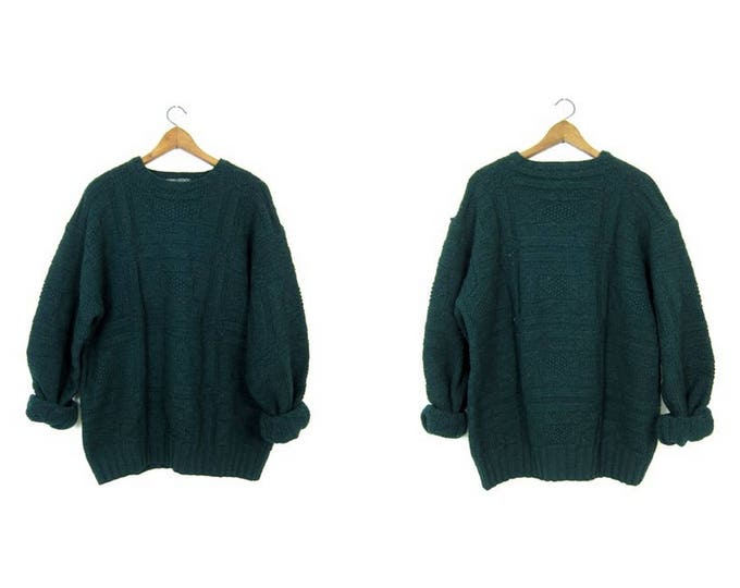 Vintage Oversized Wool Sweater 90s POLO Country Sweater Dark Green Chunky Knit Pullover Thick Wool Sweater Fishermen Sweater Mens Large