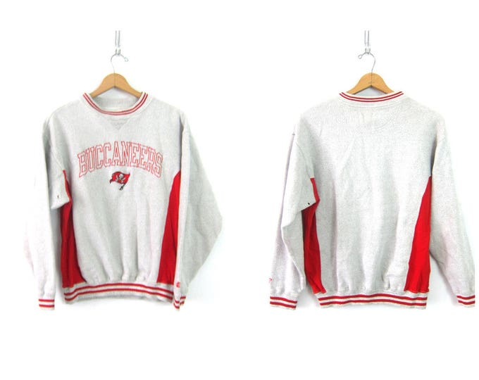 Gray Buccaneers Sweatshirt Sporty Oversized Tampa Bay Football Sweater Gray and Red Athletics Jumper Novelty Game Day Shirt Size Large