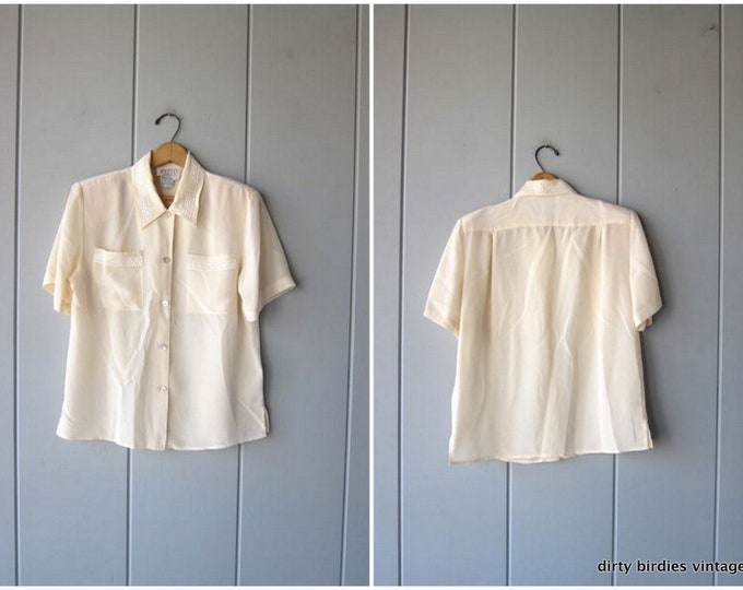 Natural White Silk Blouse Loose Fit 90s Cream Colored Silk Top Shirt Minimal Modern Casual Blouse Office Wear Vintage Womens Small