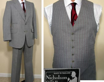 Vintage 1970s Grey Pinstriped 3 Piece Men's Suit English Made SZ 38 - 40