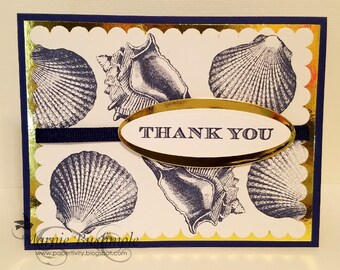 Thank You Card  Seashell Thank You Thank You Card Navy and Gold  Nautical  Fancy Thank You Card  Gold
