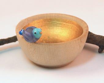 Lampwork Glass Lavender Birdie Bowl Tiny Wood & Gold Trinket Dish