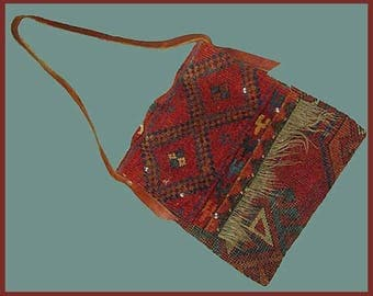Magic CARPET Ride, Oriental Carpet Handbag, Leather Shoulder Strap, Deep Red Ethnic Weave, Hippie or Boho, Vintage Accessories, Women/Unisex