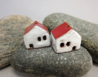 READY TO SHIP...Miniature Terracotta House Beads...Set of 2...White Walls/Red Roof
