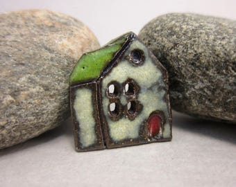 Rustic Ceramic House Button...Village School...Green Roof
