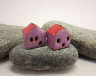 READY TO SHIP...Miniature Terracotta House Beads...Set of 2...Purple Walls/Red Roof