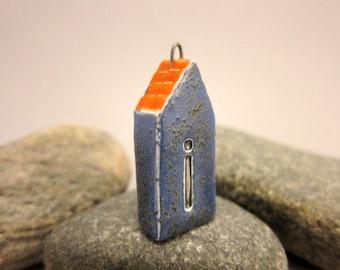 Dark Blue *I*...TWO-SIDED House Pendant by elukka