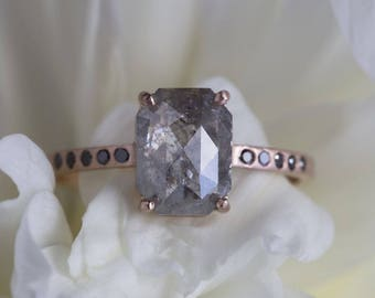 Natural Grey Emerald Cut Diamond Ring with Black Diamond Pavé Band