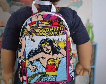 18 inch Doll Clothes - BACKPACK -  Comic Book Super Hero - Girl Power - for boy or girl doll - fits American Girl