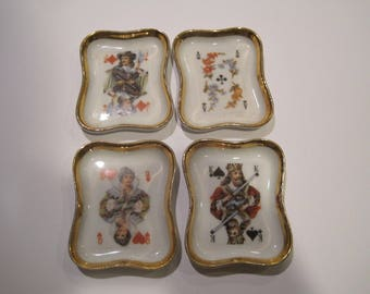 Set of 4 Limoges France playing card dishes