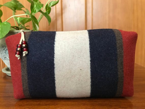 Cosmetic Bag / Makeup Bag / Zippered Pouch XXL Wool Bold Stripes
