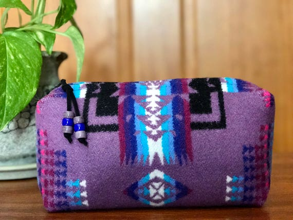 Cosmetic Bag / Makeup Bag / Zippered Pouch Medium Wool Purple Mini Chief Joseph