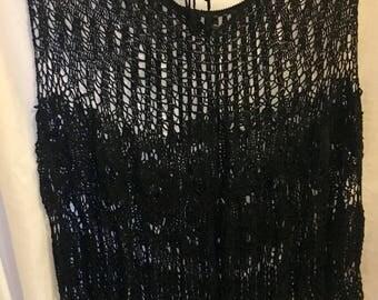 Black Crochet Lace Poncho Boho Top