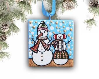 Snowman Ornament, Christmas Ornament, Christmas Decor Holiday Ornament, Handpainted Tree Ornament