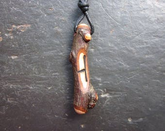 Natural Wood Ogham Pendant - Hawthorn/Uath - to Bring Hope.