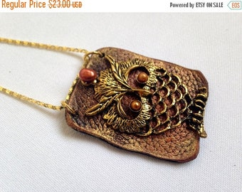 40% OFF SALE Owl pendant Leather and pearl Statement Necklace Leather jewelry