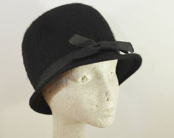 on sale Vintage Black Cloche Hat for Ladies Furry Like Mohair with Grosgrain Bow