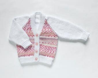 "Baby Girls "" Candy Floss "" Cardigan. Hand Knit Baby Cardigan. Hand Knit Childrenswear."