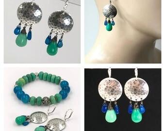 Blue Opal Earrings Hammered Sterling Silver Chandelier Earrings Green Chrysoprase Blue Green Gemstone Boho Earrings Ethiopian Opal